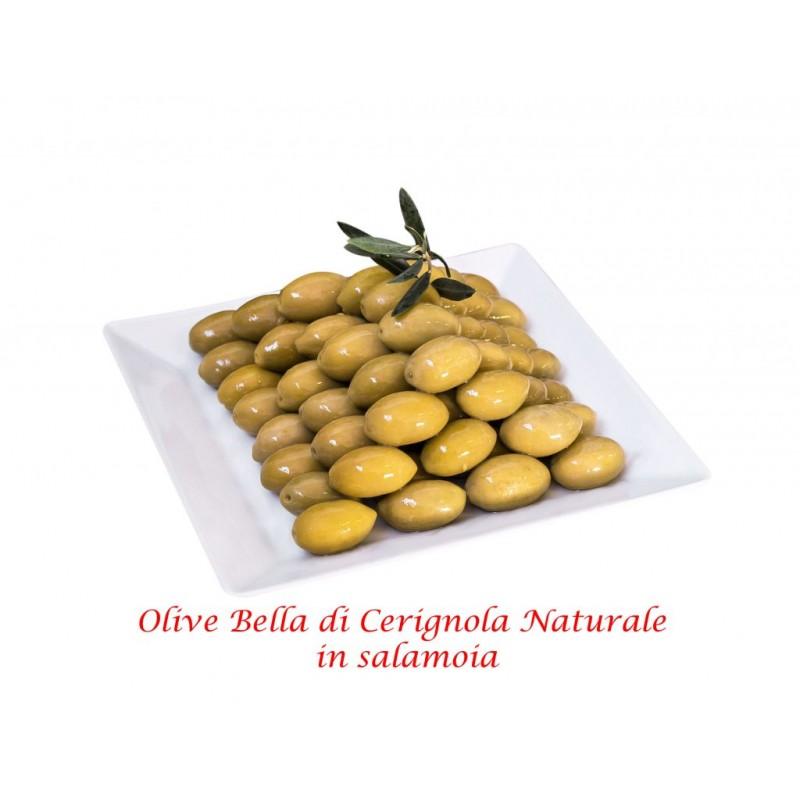 """Oliven GIGANTE Gelb mit Stein """"Oliva BELLA DI CERIGNOLA"""" Netto 400g"""