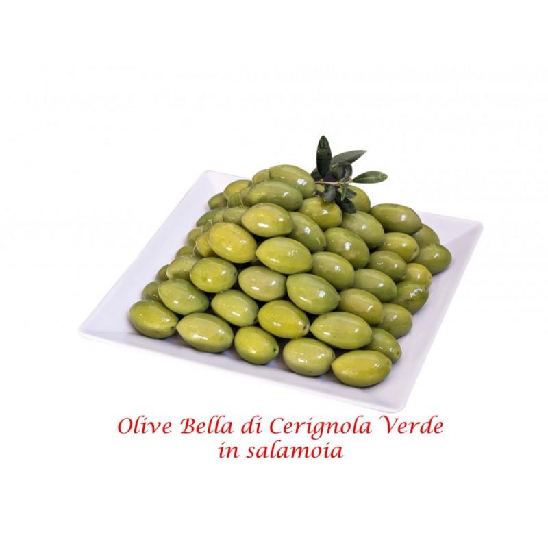 """Oliven GIGANTE Grün mit Stein """"Oliva Bella di Cerignola"""" Netto 400g"""
